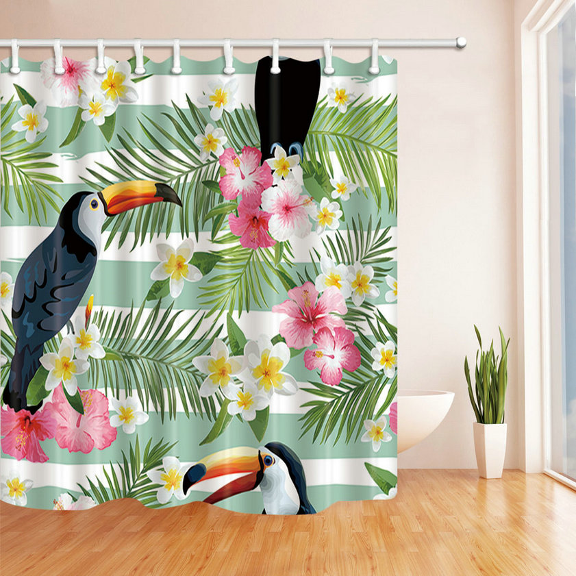 Striped Green Leaf Woodpecker Pattern Polyester Fabric Shower Curtain Waterproof Mold Mildew Resistant Bathroom Accessories