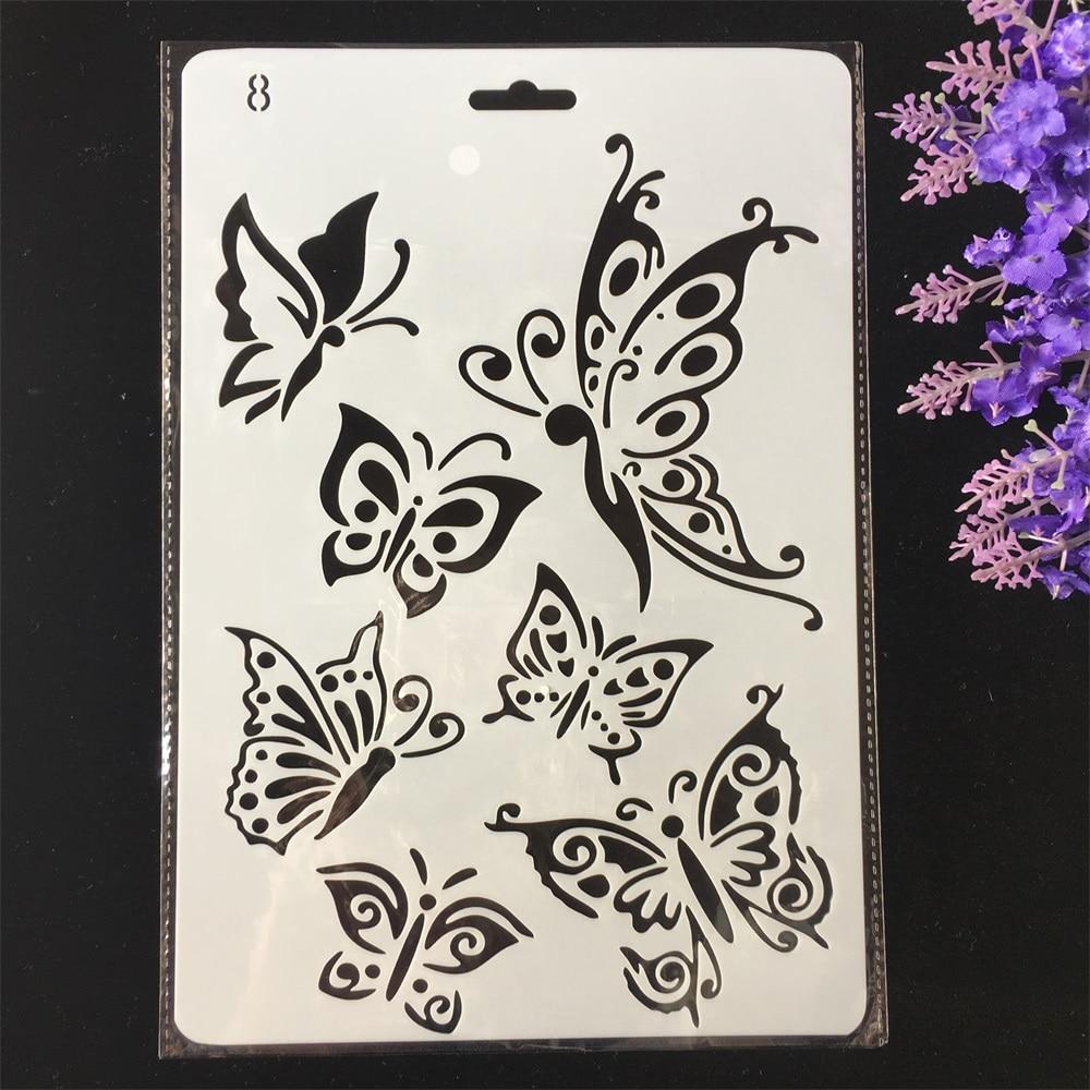 Hot 26cm Butterflies DIY Craft Layering Stencils Painting Scrapbooking Stamping Embossing Album Paper Card Template