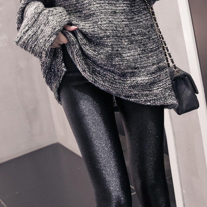 Women Plus Size Leggings fashion solid slim pants black shiny skinny trousers Glossy Pants  6xl 5XL 4XL 3XL large size