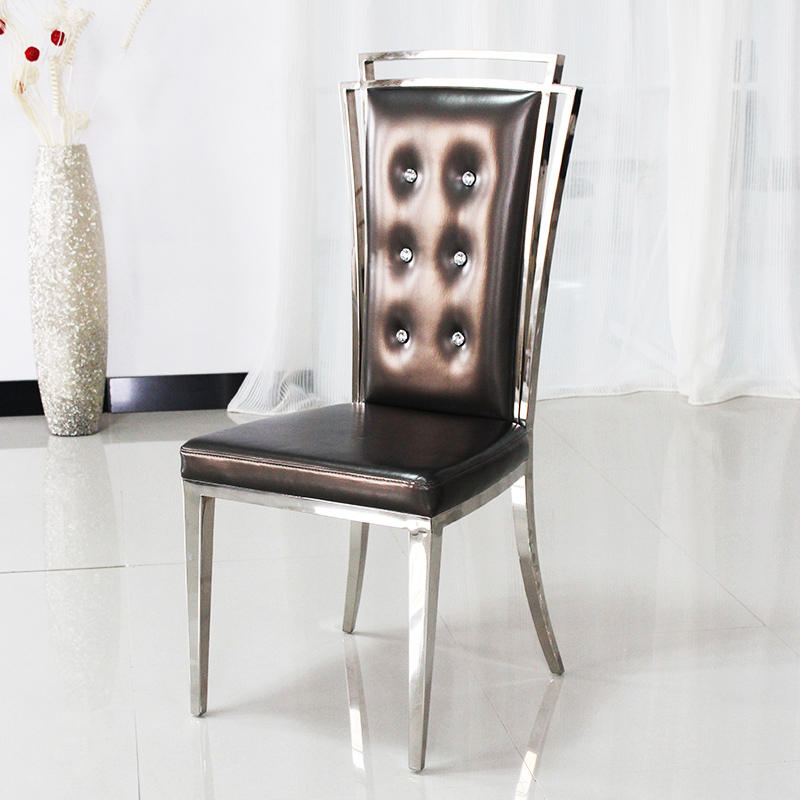 Neo Classical Post Modern High Back Dining Chairs Grade Stainless Steel Restaurant  Chairs Pull The Drill Buckle Leather Chair Ho In Shampoo Chairs From ...