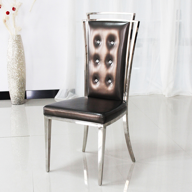 Neo-classical post-modern high back dining chairs grade stainless steel restaurant chairs pull : leather restaurant chairs - Cheerinfomania.Com