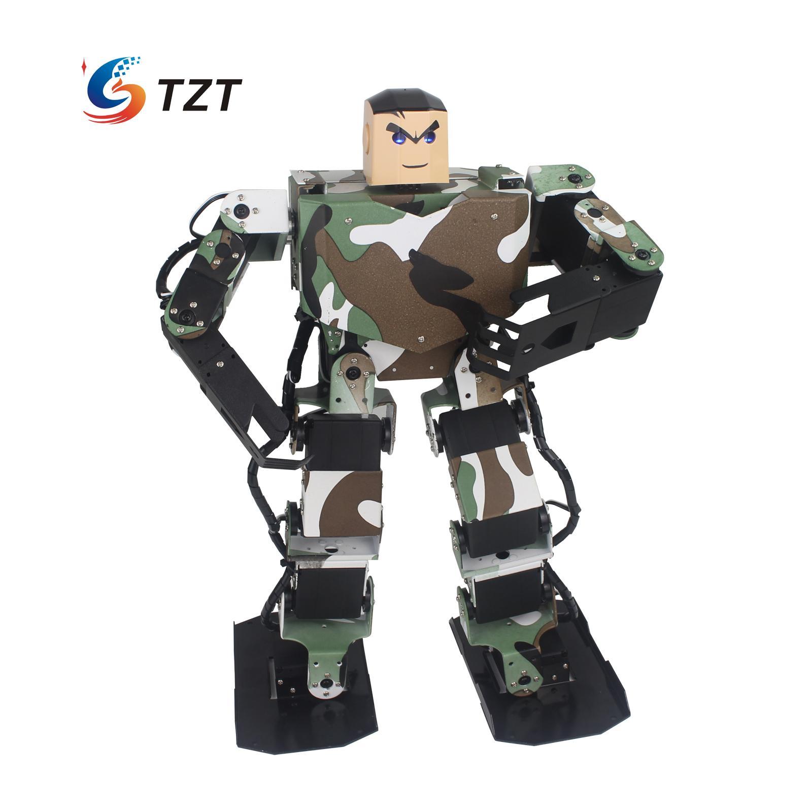 Soldier King 16DOF Smart Humanoid Robot Contest Dance Programmable Biped Robotics with Servos/Handle/Controller Assembled soldier king 16dof smart humanoid robot frame contest dance biped robotics for diy