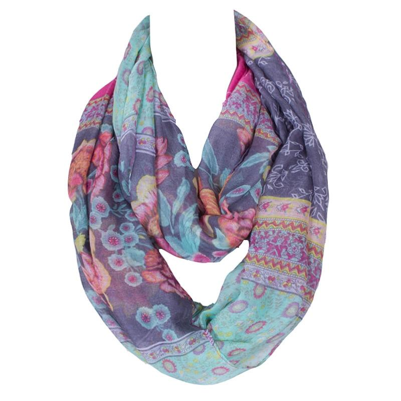 Ny mode rosa ring kvinna halsduk design med blommig sida oändlighet loop nackskärm Echarpe Foulard Femme Storlek 180 * 50cm
