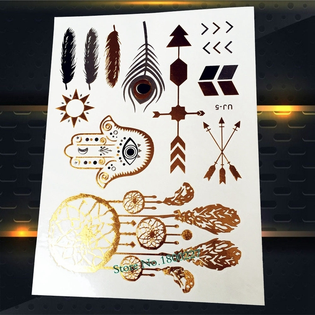1pc Fashion Gold Dreamcatcher Temporary Tattoo Indian Eye Hand