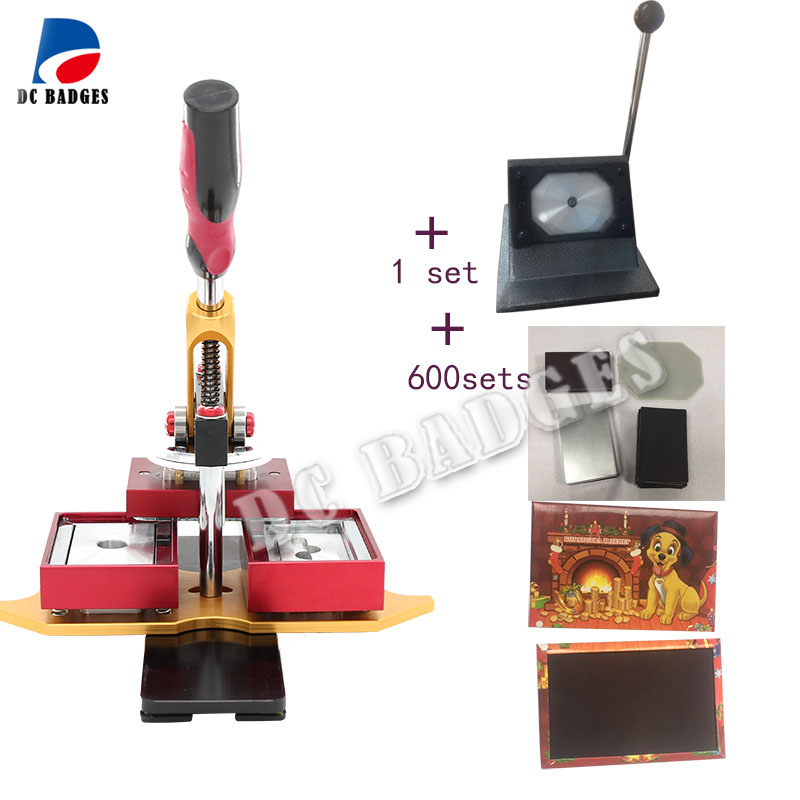 Free Shipping 80*53mm Rectangle magnetic button Maker Machine with Metal paper cutter and 600sets magnet material
