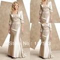 Frete grátis elegante bordado manga comprida de cetim mãe dos vestidos de noiva com jaqueta MQ007