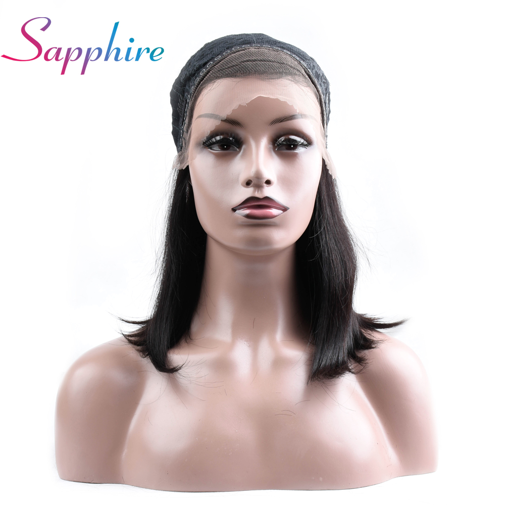 SAPPHIRE Lace Front Human Hair Wigs With Baby Hair 130% Density Straight Lace Front Wigs Brazilian Non Remy Hair Bleached Knots