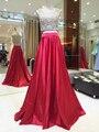 MYEDRESSHOUSE Couture 2 Peça Conjunto Ocasião Vestido Cheio Beading Bolero Com Cetim Vermelho Uma Linha Saia Vestido Da Celebridade 17MYED018