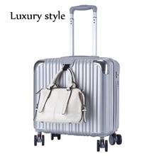 b3d77e020e8c2 Męska Business Travel Trolley Case 18 Cal Bagażu damskie Luksusowe Toczenia  Koła Walizka Przekrój Lekki Bagażu ABS