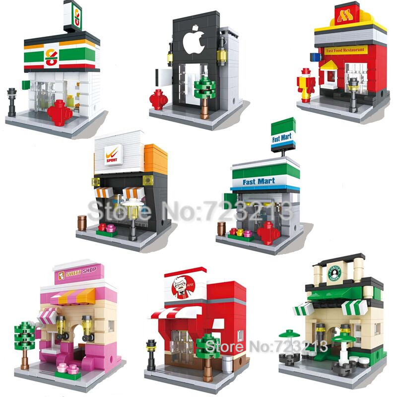 Legoingly City Mini Street Scene 3D Retail Store Architectures Educational Building Blocks Sets Model Toys For Children