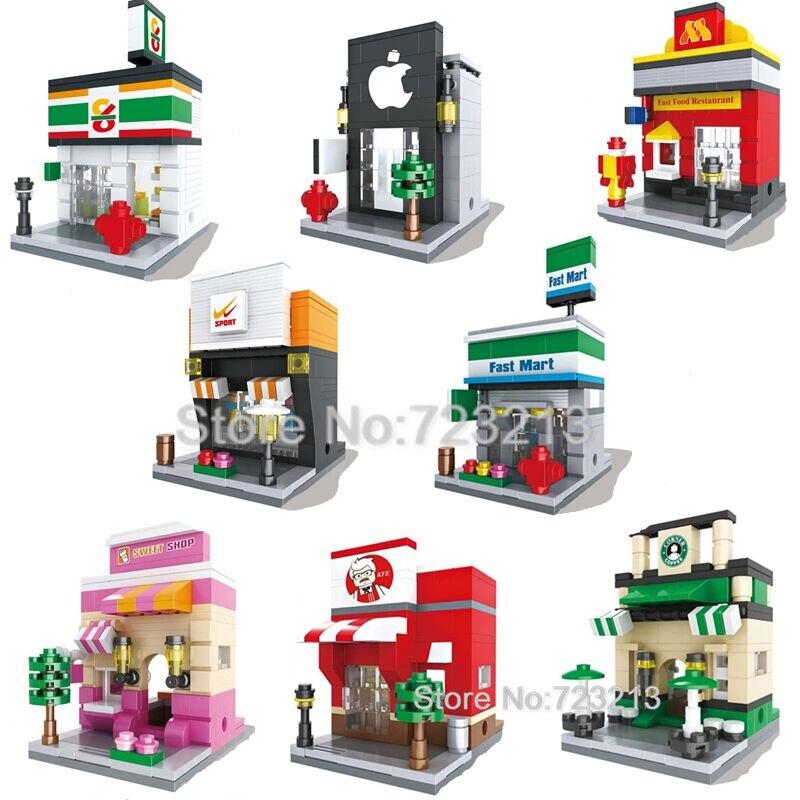 legoinglys City Mini Street Scene 3D Retail Store Architectures Educational Building Blocks Sets Model Toys For Children