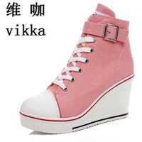 Hot Canvas Shoes Women Wedges High Top Platform Shoes Woman Casual Trainers Elevator Shoe High Heels