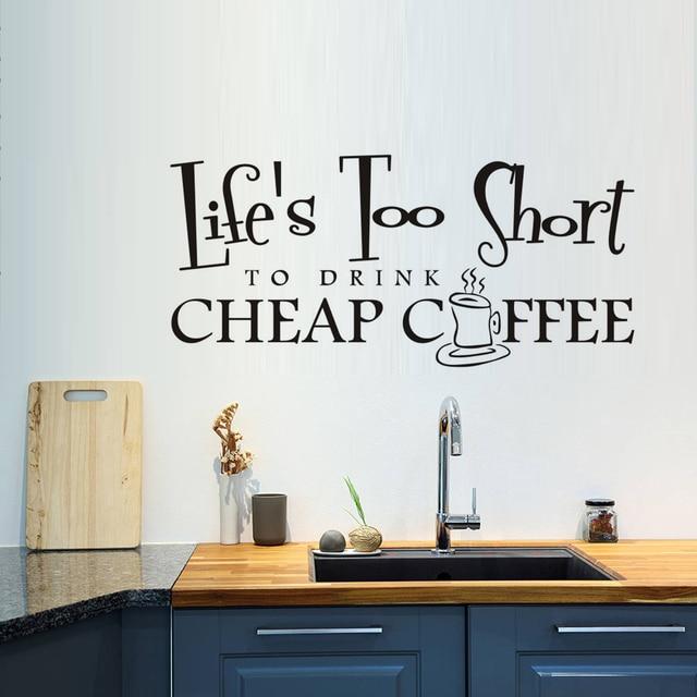 coffee cup mural wallpaper, life\u0027s too short to drink coffee quotescoffee cup mural wallpaper, life\u0027s too short to drink coffee quotes large size wall art sticker, home decor wall poster jd2889