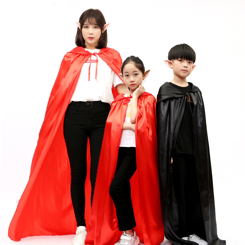 1 Piece Red Black Hood Halloween Costumes Adult Girls Death Cape Boy Cloak Magician Witch Wizard Childrens Capes