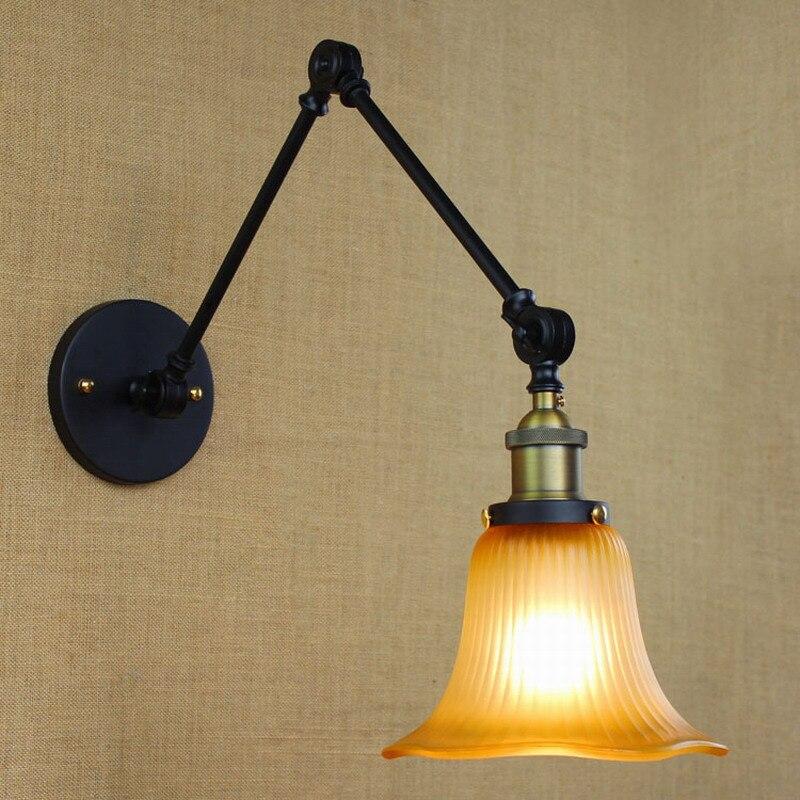 Industrial Style Reto Antique Rust Wall Lamp/swing Arm Wall Lighting For Workroom/bathroom Vanity 2 Applies Arm Tornado