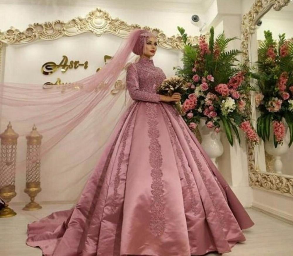 Pink Islamic Muslim Arabian Wedding Dress With Long Sleeves High Neck Ball Gown Dubai Kaftan Arabic Bridal Gowns Satin 2019