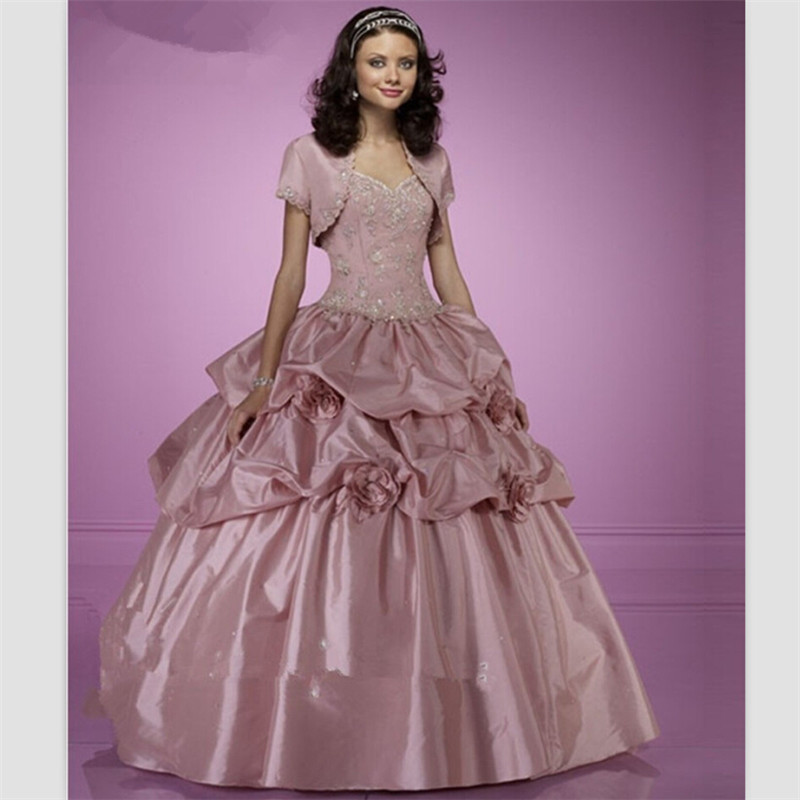 Dark Pink Wedding Dresses: 2015 Dark Pink Taffeta Quinceanera Dresses With Jacket