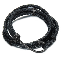 HIP Double Layer Black Color Fish Hook Men Bracelets Bangles Black Double Layer Braided Genuine Leather