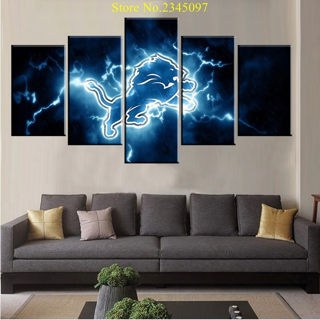 5 Panels HD Print On Canvas Oil Paintings Detroit Lions Sport Boys Wall Art Pictures For & 5 Panels HD Print On Canvas Oil Paintings Detroit Lions Sport Boys ...