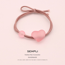 Sempli High Quality Nylon Elastic Love Hair Bands for Women Frosted Transparent Bead Rubber Band Lady Accessories Scrunchie