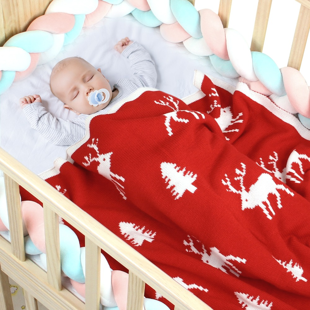 Newborn Baby Cellular Blankets Funny Reindeer Knit Infant Sleeping Stroller Bedding Covers Children Christmas Accessories Quilts