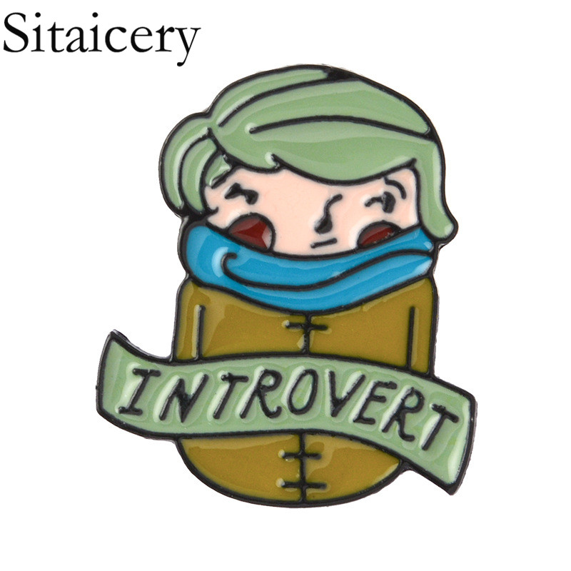 Sitaicery Introvert Lapel Pin Wearing A Scarf Introverted Boy Enamel Brooch Because Dometimes Home Is The Most Fun Place Badge in Brooches from Jewelry Accessories