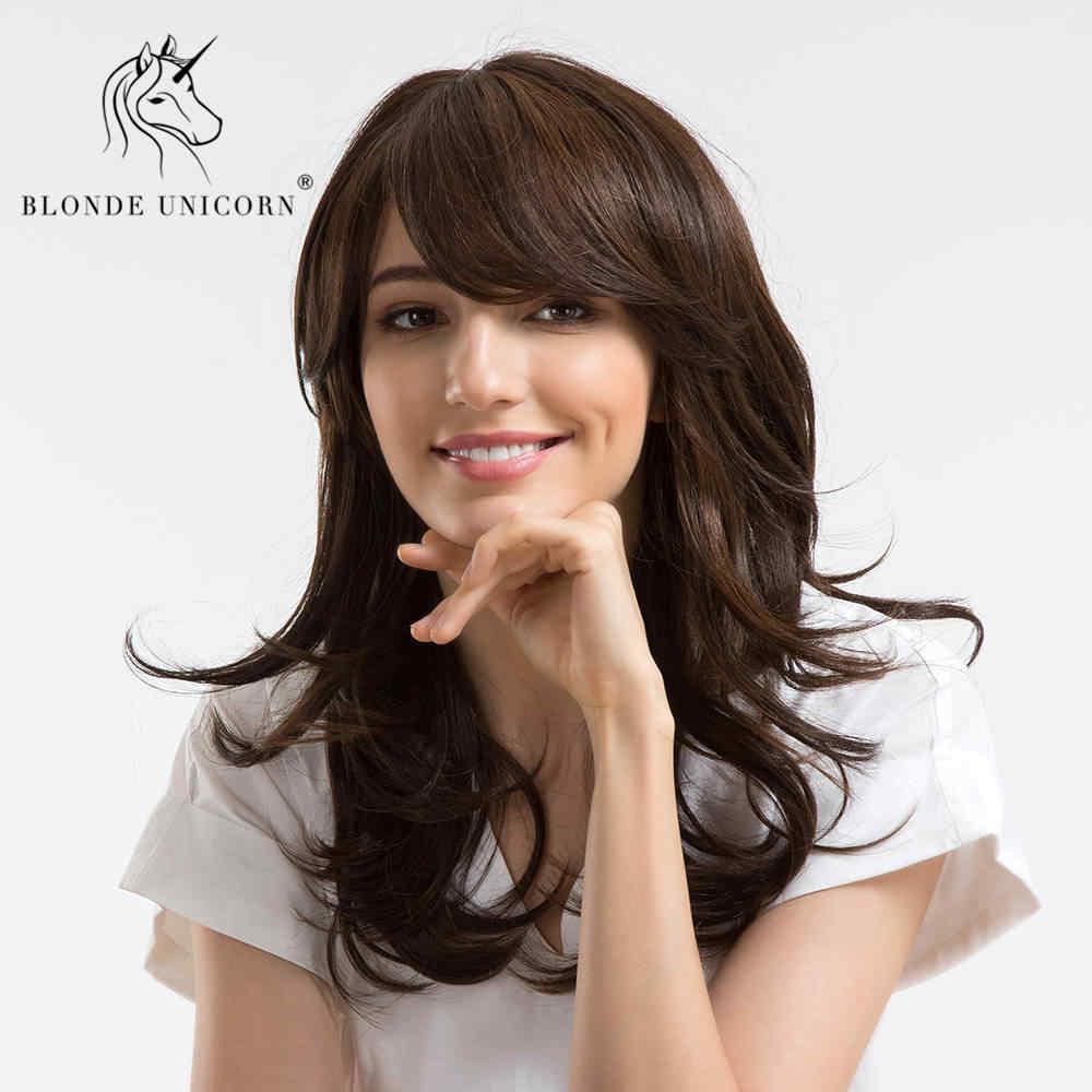 Блонд Единорог 18 дюймов Синтетические женские парики темно-коричневая боковая челка натуральные длинные волнистые с бликами парик Бесплатный подарок