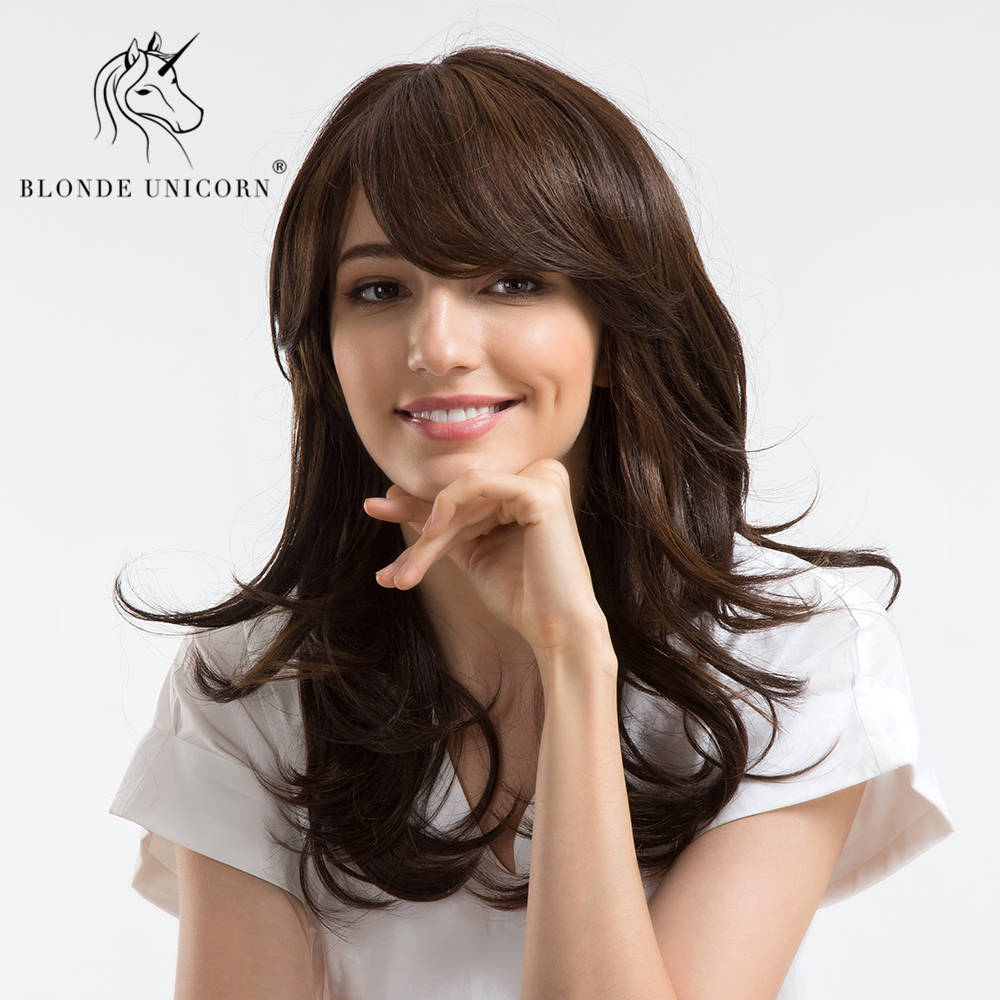 BLONDE UNICORN 18 Inch Synthetic Women's Wigs Dark Brown Side Bangs Natural Long Wavy With Highlights Wig Free Gift
