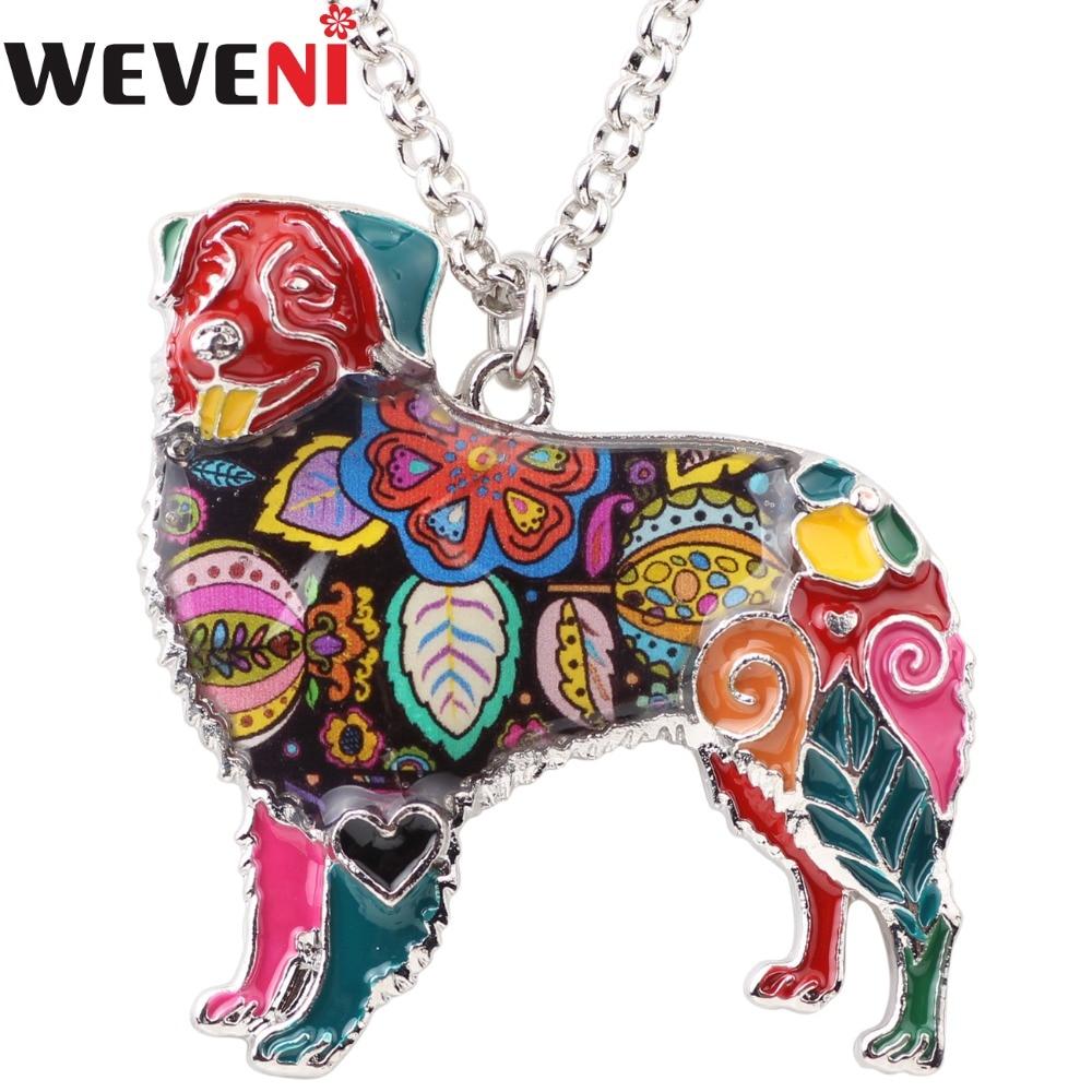 WEVENI Statement Enamel Australian Shepherd Dog Necklace Pendant Chain Collar Fashion Animal Jewelry For Women Girl Bijoux Gift