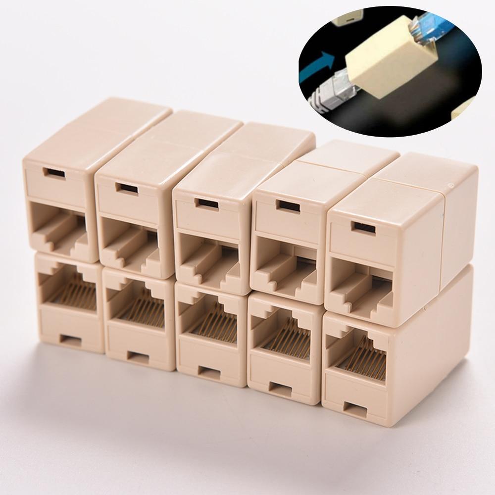 10Pcs RJ45 Lan Network Ethernet Cable Extender Joiner Adapter Coupler CAT 5