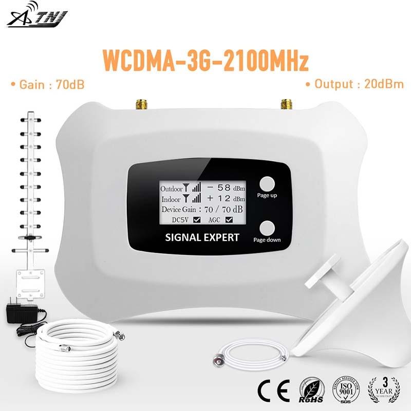 Plein écran Intelligent d'affichage à cristaux liquides 3G amplificateur de Signal mobile 2100mhz WCDMA répéteur 3g amplificateur de signal cellulaire amplificateur kit