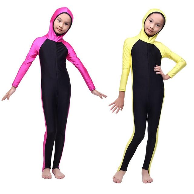 beb4201987d6d maillot New Muslim Child Conjoined Swimwear Islamic Girls Swimming Arab  Islam Beach Wear Modest Islamic Hijab