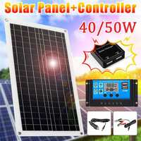 Solar Panel 50W 18V/5V double USB Output Solar Cells Poly Solar Panel 40A controller for Car Yacht 12V Battery Boat Charger