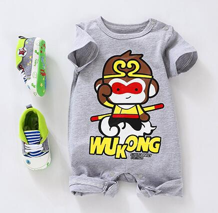 Retail 1 peice Gentleman Baby rompers WUkong Monkey King Baby boy Jumpsuits 100% Cotton summer toddler clothing Romper outfits 2017 baby romper girl and boy short sleeve monkey print summer clothing for newborn next jumpsuits