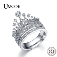 UMODE Luxury CZ Bridal Sets for Women 925 Sterling Silver Jewelry Crown Rings Anniversary Wedding Engagement Bague Femme ULR0336