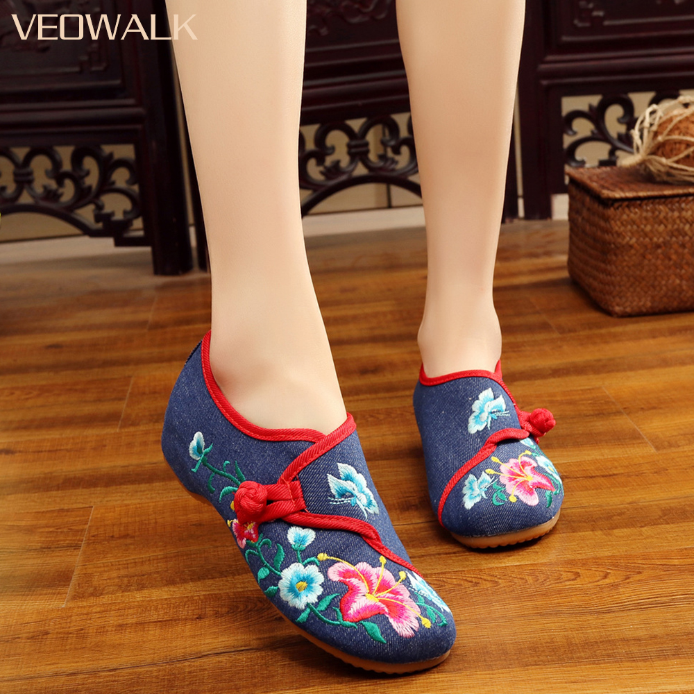 Veowalk Handmade Morning Glory Embroidered Women Canvas Ballet Flats Retro Casual Comfort Cotton Fabric Flowers Woman Shoes
