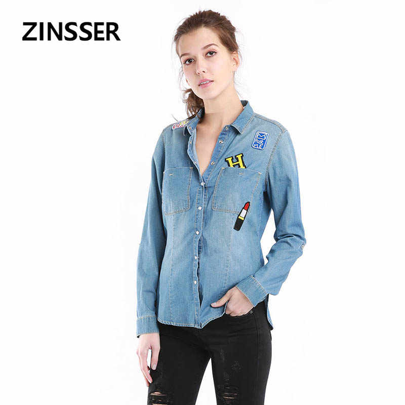 Autumn Winter Women Denim Fancy Shirt Slim Casual Patch Long Sleeve With 2 Pockets Washed Blue Female Lady Blouse Top