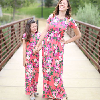 summer mother daughter dresses mommy and me clothes family look matching outfit mom mum mama daughter long floral dress clothing