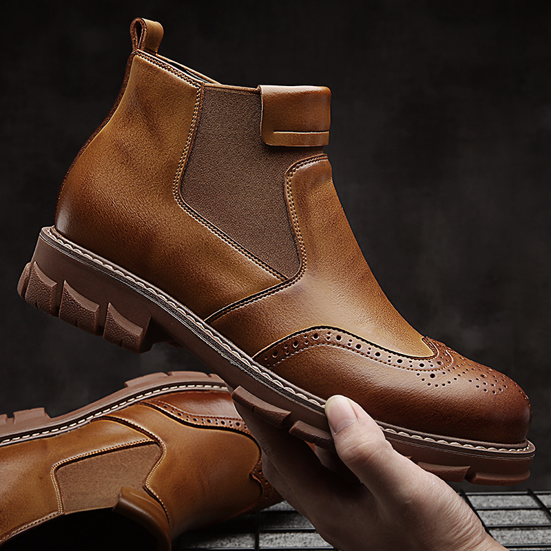 Chelsea Boots Men 2018 New Men's Casual Martin Boots Fashion Trend Flat Shoes Leather Waterproof Non-slip Boots.
