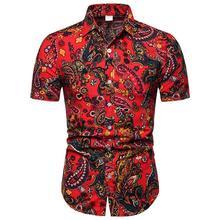 New Model Linen Shirts Men Hawaii Slim fit Beach Style Flower Mens Shirt Floral Blouse Clothes 2019 Summer