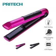 PRITECH 휴대용 USB 충전 전문 미니 머리카락 Straightener LED 디스플레이 무선 머리 플랫 아이언 Hairs 도구 Chapinha