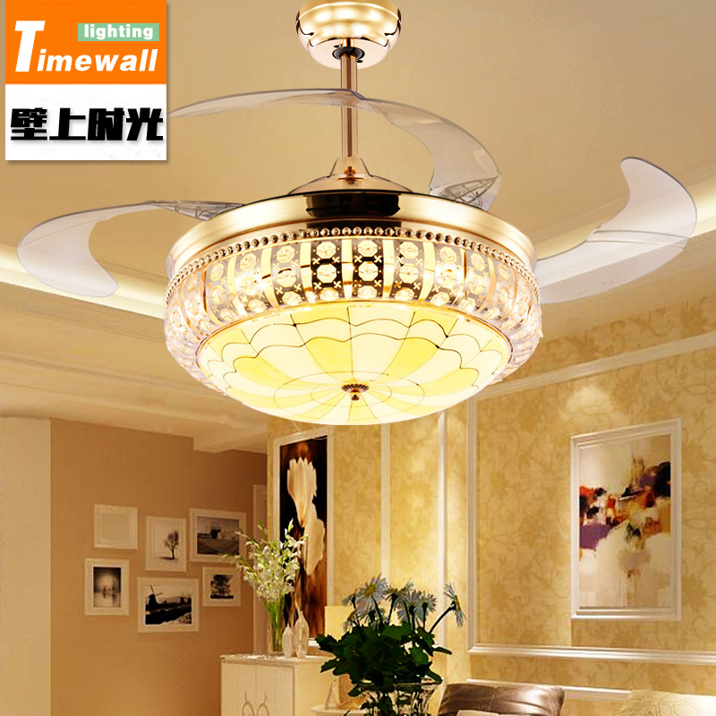Crystal Ceiling Fan Lamp In The Living Room Dining Simple Modern Led With