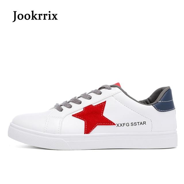 Jookrrix 2018 nueva moda primavera moda ocio blanco Zapatos hombres  estrella zapatillas de buena calidad negro f3e752a31518