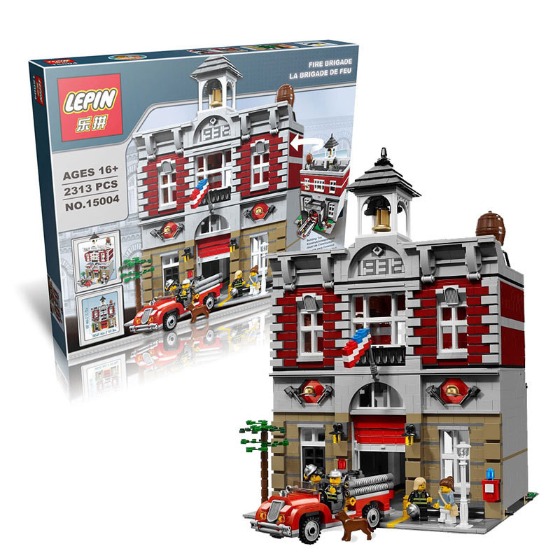 City Street Creator Fire Brigade Lepin 15004 Model Doll House Building Kits Blocks Compatible With 2313Pcs