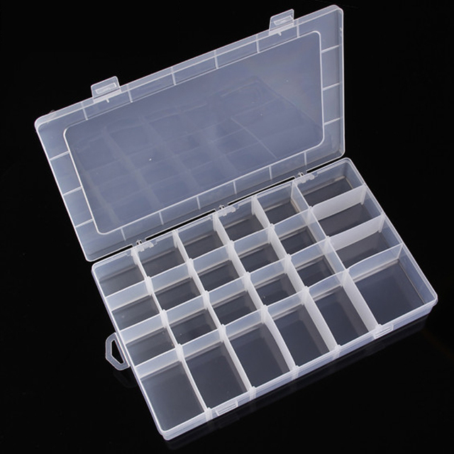 24 Grids Transpa Plastic Storage Box Case Diy Jewelry Beads Toy Rubber Band Hairpin Sorting