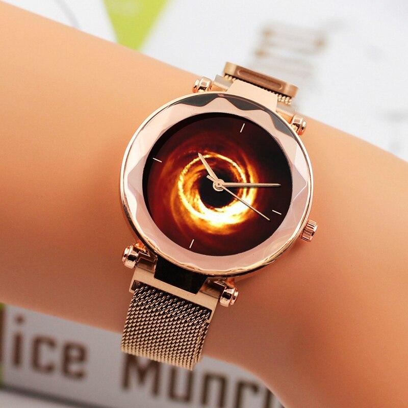 Luxury Magnet Watch Women 2019 Best Black Hole Starry Sky Ladies Quartz Wristwatches Fashion Steel Mesh Female Clock Reloj Mujer