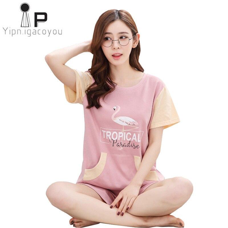 Home clothes Women Pyjamas Two Piece Short Sleeve Summer Pijama Plus Size otton   Pajama     Set   Sleepwear Kawaii Nightsuit Nightwear