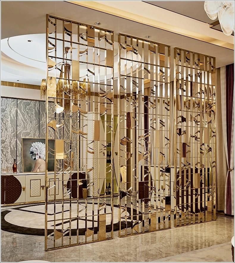 Panneaux De Separation De Mur En Metal Interieur Decoratif Ecrans Metalliques Architecturaux Or Disparaitre Mur D Ecran En Acier Inoxydable Artisanal Aliexpress