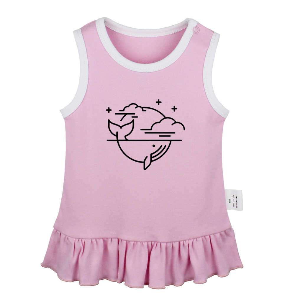 Vamos começar o Planeta perdido Uma Cauda de uma Baleia Cantar para você Bebê Recém-nascido Meninas Vestidos Criança Vestido Sem Mangas Infantil roupas de algodão