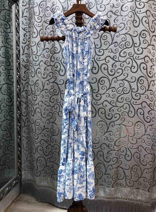 Neckle Estate 0316 Largo Delle L' Vestito Con 2019 Blu La Nuove Funghi colore Collare Lungo Rosa Donne Primavera E Fiore tqAwxa6p